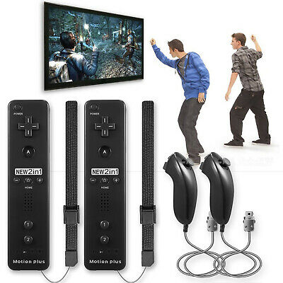 2 Pack x Built in Motion Plus Remote Controller And Nunchuck Sets For Wii Games