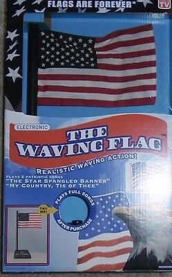 PATRIOTIC FOURTH OF JULY FLAGS ARE FOREVER MUSICAL THE WAVING FLAG REALISTIC NEW