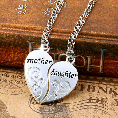Stylish Charms Silver Mother and Daughter Love Mom Necklace Mothers Day Gifts
