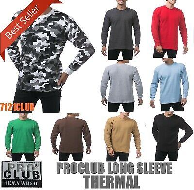 PRO CLUB THERMAL HEAVYWEIGHT LONG SLEEVE T SHIRT PROCLUB MEN BIG AND TALL S-5XLT