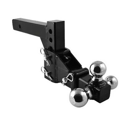 HD 3 BALL ADJUSTABLE DROP-TURN TRAILER TOW 2 HITCH MOUNT TOWING TRUCK SOLID