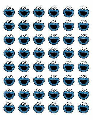 48 COOKIE MONSTER ENVELOPE SEALS LABELS STICKERS 1-2 ROUND