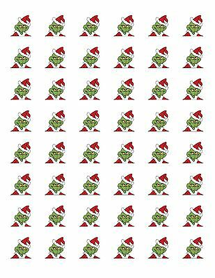 48 GRINCH CHRISTMAS ENVELOPE SEALS LABELS STICKERS 1-2 ROUND