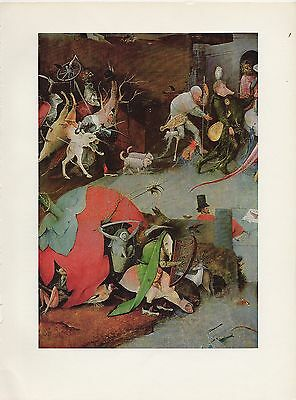 1971 Vintage HIERONYMUS BOSCH TEMPTATIONS OF SAINT ANTHONY 2 COLOR Lithograph