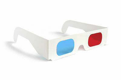 50 PAIRS 3D GLASSES Red Blue Paper Cardboard AA8 Free Shipping