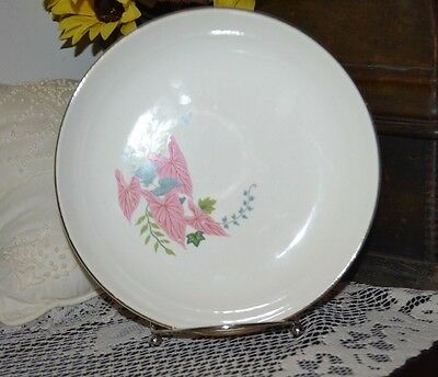 Vintage W-S- George Porcelain Salad PlateShallow Bowl 7 78 Pink Caladiums