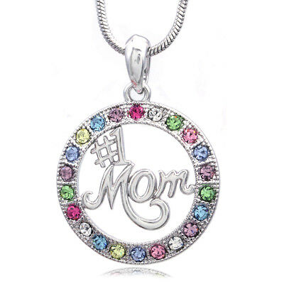 I Love Mom Mothers Day Valentines Day Gift Pink Heart Pendant Necklace Jewelry