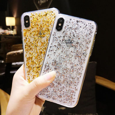 Bling Glitter Foil Crystal Clear Soft TPU Rubber Shockproof Silicone Case Cover