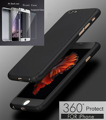 Hybrid 360° Tempered Glass - Acrylic Hard Case Cover For iPhone 7 6 6S Plus 5s