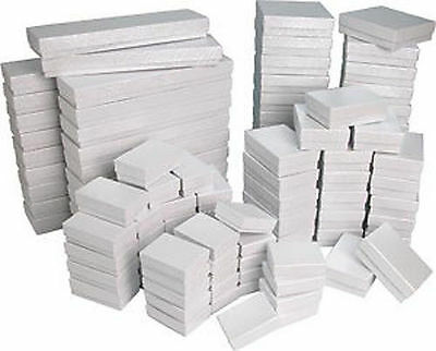 White Swirl Cotton Filled Gift Boxes Jewelry Cardboard Box Lots of 122550100