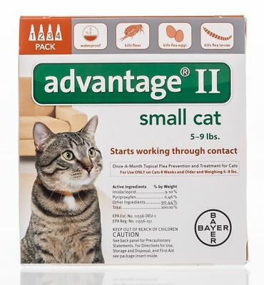 NEW Bayer Advantage II for Small Cats 5-9 Lbs Genuine EPA Approved 4-Month