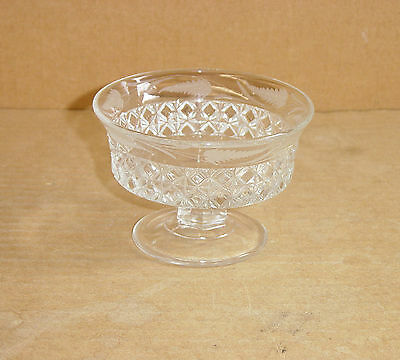 EAPG CRYSTAL ETCHED MASCOTTE 4 FOOTED SAUCE BOWL RIPLEY - CO 1874