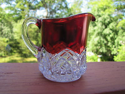 McKee Glass EAGP Heartband Ruby 3 Inch Pitcher ca- 1897 Antique