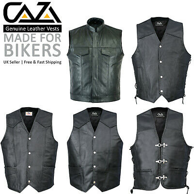 Mens Leather Waistcoat Motorcycle Biker Black Real Leather Vest Free Delivery