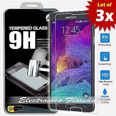 3X Package for Samsung Galaxy Note 4 Real Tempered Glass Screen Protector A-