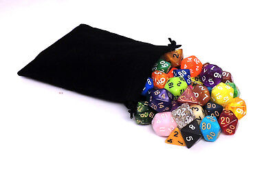 42 Polyhedral Dice with Bag - Includes 6 Complete Sets of 7 - RPG D-D Pathfinder
