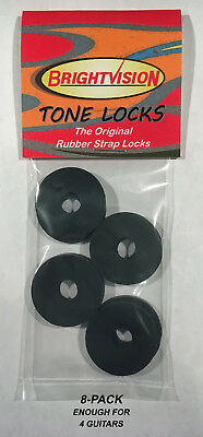 Eight BLACK Rubber Guitar Strap Locks - Grolsch Style - Classic and Reliabl