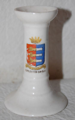 5- GEMMA ENGLISH CRESTED ARMS CHINA SOUVENIR OF GORLESTON-ON-SEA  CANDLE HOLDER