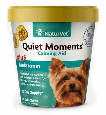 NaturVet Quiet Moments Plus Melatonin Calming Aid for Dogs 70 Count Soft Chew
