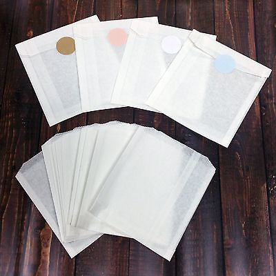 White Glassine Paper Bags And 1-5 Stickers Choose Your Size  Color- FOOD SAFE