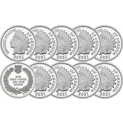 SPECIAL PRICE 2017 Indian Head Cent 1oz -999 Silver Medallion - LOT OF 10