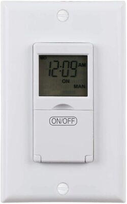 Century 7 Day Programmable In-Wall Timer Switch Digital for Fans Lights Motors
