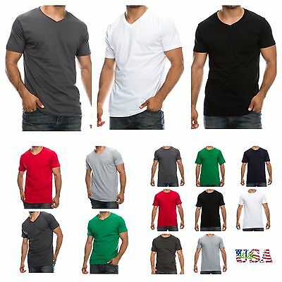 1-3-6 PACK Mens T-Shirt Lot Plain V-Neck Crew Neck Slim Fit Fashion Casual Tee