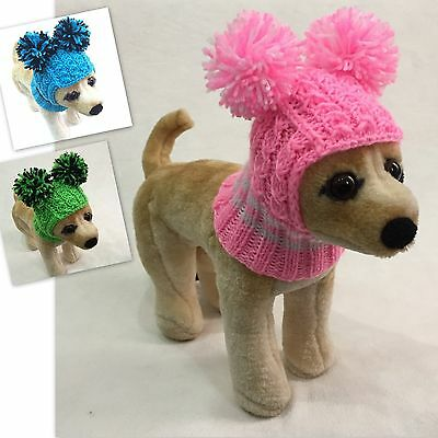 Handmade Knit Clothes Pompom Winter Hat for Dogs  Pets Size XXS XS S