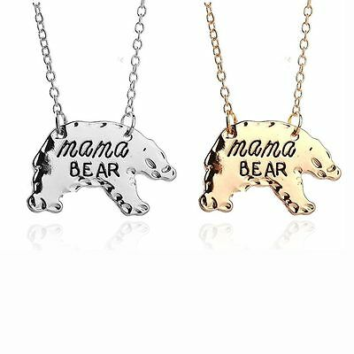 Animal Mothers Day Cartoon Pendant Necklace Alloy Chain Mama Bear Jewelry