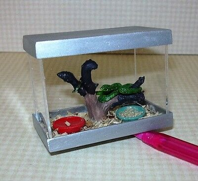 Miniature Pet Snakes 2 in Plexiglass Cage NOT REAL DOLLHOUSE Miniatures 112