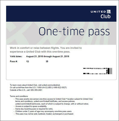 2 Passes for United Club One Time Pass EXP 822020 NOT CHASE E-pass available