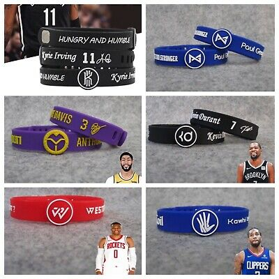 NBA PLAYERS Silicone Wristband Adjustable Clasp Bracelet Durant Curry Lebron MJ