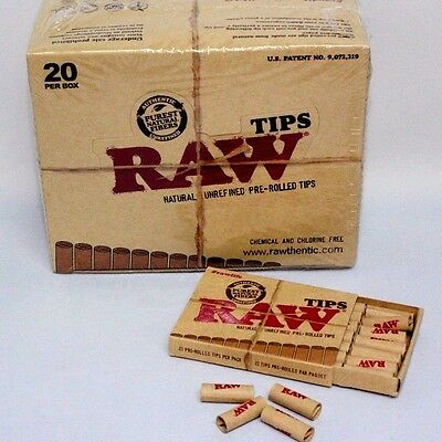 Raw Tip Natural Unrefined Pre-Rolled TipsFull Box21 Per Box20 Packs420 Total