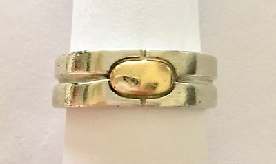 Vintage Bayanihan 925 Sterling Silver - 18K Gold Button Ring Size 11 - NR