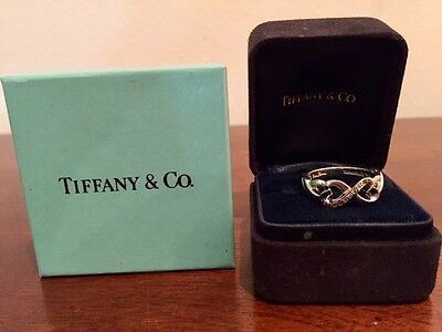Tiffanys Double Hearts Picasso Diamond and White Gold Ring Size 7