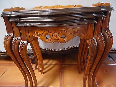 Vintage 1930s Set of 3 MAHOGANY WOOD NESTING TABLES  FRENCH STYLING