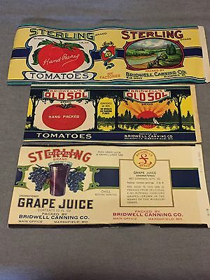 Lot of  3 Vintage Bridwells Labels Great Color and Condition