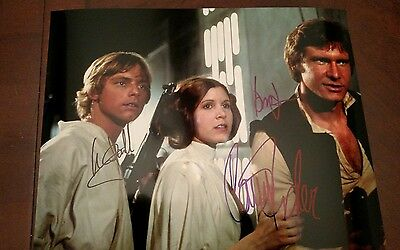 Carrie Fisher Harrison Ford - Mark Hamill Hand Signed 8 x 10 Photo W COA