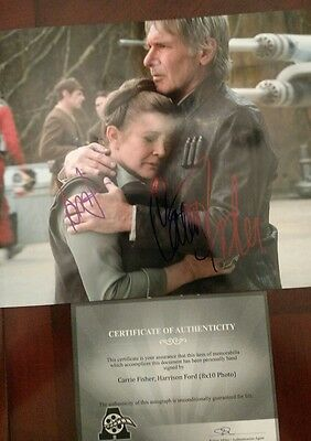 Carrie Fisher - Harrison Ford Hand Signed 8 x 10 Photo W COA