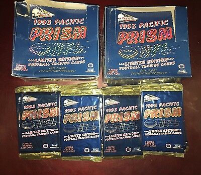 1993 Pacific Prism NFL Football 72 Sealed Packs 2 Wax Boxes Worth