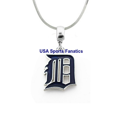 MLB Detroit Tigers 925 Sterling Silver Team Pendant Logo Necklace 5 Sizes