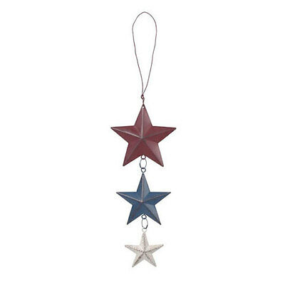Red White Blue Metal Hanging Stars Patriotic Americana Fourth of July Decoration