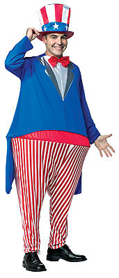 Uncle Sam Hoopster Adult Costume Patriotic America July 4th Red White Blue