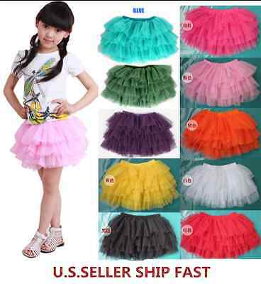 NEW Multi-COLORS Pettiskirt Skirt TUTU Party Dance Girl Skirt 3-12Y