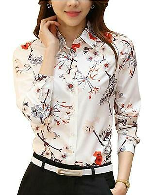 Womens Button Down Long Sleeve Printed Shirt Tailored Blouse