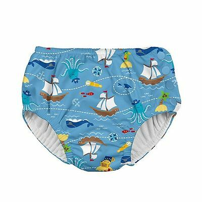 iPlay Pirate Ship Blue Reusable Absorbent Swim Diaper with Snaps Toddler Baby 3T