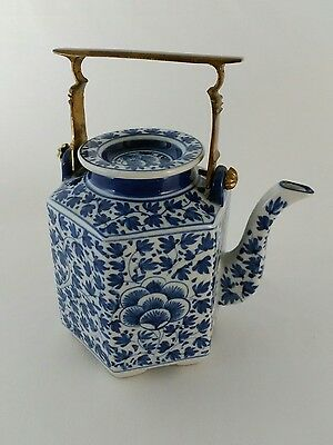 Chinese Blue - White Porcelain Teapot Footed Hexagon Hand Painted Antique China