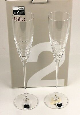Waterford Crystal Folio Champagne Glasses Set of 2- New in Original Box