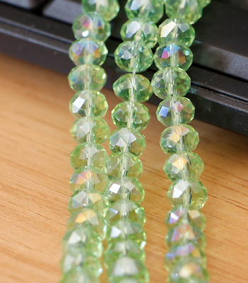 70pcs Apple green  AB colors Jewelry Faceted Crystal beads 6x8mm