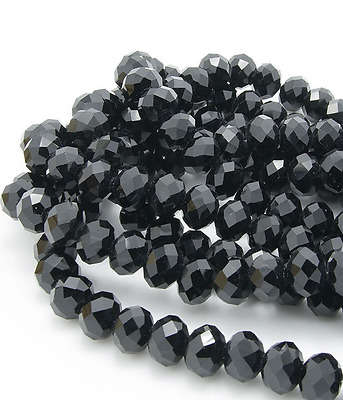70pcs black AB colors Jewelry Faceted Crystal beads 6x8mm